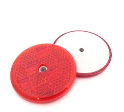 50mm Red Circular Reflector with Centre Screw Hole