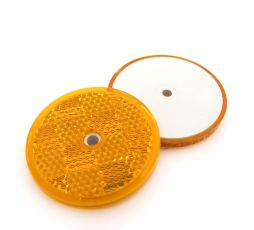 50mm Amber Circular Reflector with Centre Screw Hole
