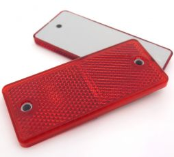 Red Rectangular Reflector with Screw Holes, 90mm x 40mm