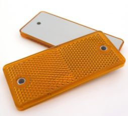 Amber Rectangular Reflector with Screw Holes, 90mm x 40mm