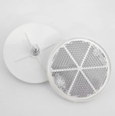 White Circular Reflector with Rear Bolt Mount, 80mm