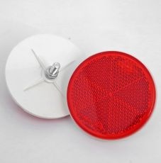 Red Circular Reflector with Rear Bolt Mount, 80mm