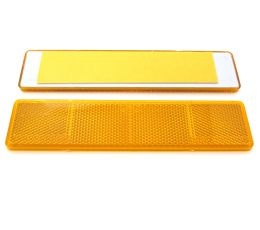 Amber Large Rectangular Reflector, Self-Adhesive, 173mm x 40mm