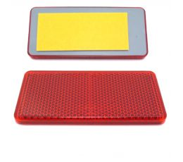 Red Rectangular Reflector, Self Adhesive, 94mm x 44mm