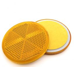 Self Adhesive Amber Circular Reflector, 60mm