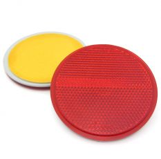 Circular Red Reflector, Self Adhesive Mounting, 78mm, E-Approved