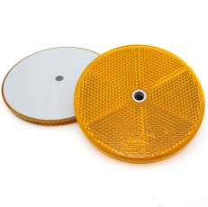 Amber Circular Reflector with Centre Hole, 76mm